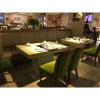 北欧大理石火锅桌椅组合电磁炉实木自助火锅桌子一体桌定制