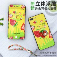 iphone7彩绘手机壳水果浮雕手机外壳苹果6s plus全包硬壳膜壳套装