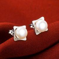 银饰品一件代发 925纯银耳钉唯美气质淡水珍珠耳钉 耳吊耳饰批发