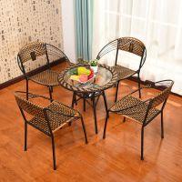 户外藤编桌椅腾椅子靠背椅家用藤椅单人靠背椅休闲椅子三件套