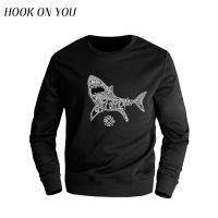 外贸新款鲨鱼印花长袖圆领套头春秋卫衣潮款