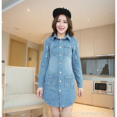 秋装新款韩版中长款女装上衣 磨烂牛仔衬衣女外套