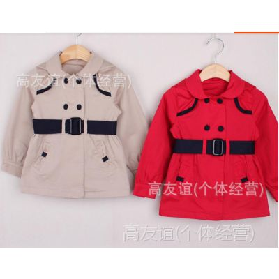 DP 外贸童装批发2014秋新款韩版ALLO女童风衣童外套