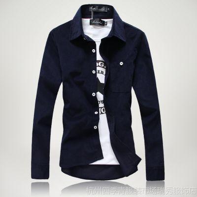 供应2014春装新款灯芯绒纯色长袖衬衣 韩版修身百搭款 一件代发280