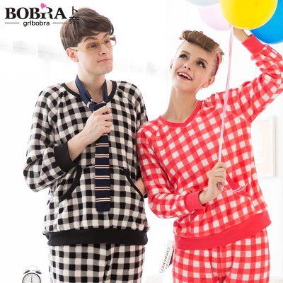 品牌原创冬季珊瑚绒情侣睡衣男女加厚法兰绒长袖家居服情侣套装