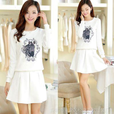2014秋季新款韩版女式职业套装印花图案卫衣+短裙两件套套装女