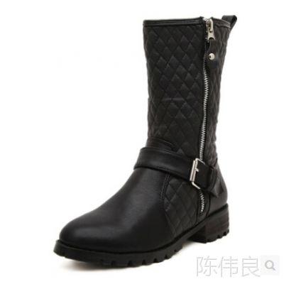 2014冬季新款菱格女春秋中筒靴中跟欧美马丁靴女靴子-51-566-1