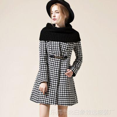 羊毛外套女大衣2014冬格子新款欧美大牌 修身款货真价实批发