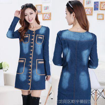 实拍大货韩版修身牛仔连衣裙2014新款长袖单排扣风衣女外套