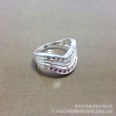 鸿鑫首饰 电镀925银戒指  热销分色锆石戒指 闪亮镶钻戒指
