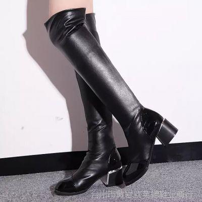 2014秋冬欧美款弹力过膝长靴子女靴 高跟瘦腿靴厂家女鞋批发