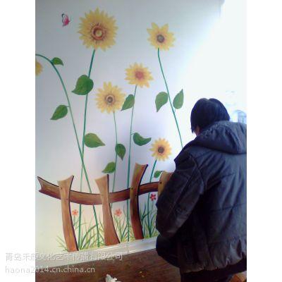 家装电视墙儿童房卡通国画油画墙绘