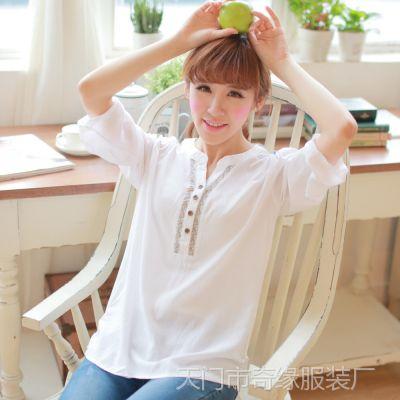 2014春装新款 白色衬衫 女 中袖 宽松棉白色衬衣