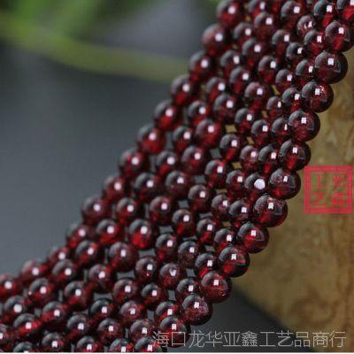 纯天然洒红色4A级石榴石散珠批发 5-6.5mm圆珠天然水晶宝石