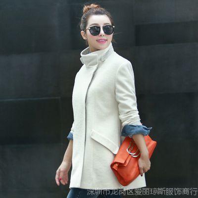 2014冬季新款加厚呢子大衣女装 韩版中长款长袖修身女风衣