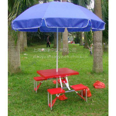 批发/定制连体折叠桌椅与户外广告太阳伞、上海户外折叠桌与阳伞厂