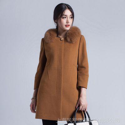 2014秋冬新款羊毛尼外套 时尚韩版搭配狐狸毛领女式羊绒大衣