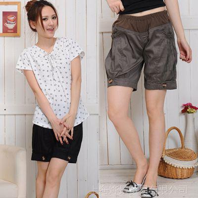 时尚韩国孕妇装 夏款孕妇短裤 孕妇托腹裤子 纯棉孕妇裤 潮