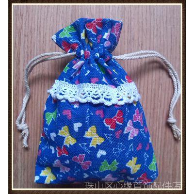 厂家提供 花边蝴蝶结布袋 束口袋子 民族风布袋 DIY首饰饰品布袋