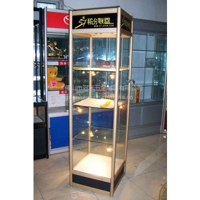 供应厂家直销铝合金展架 精品展示柜 工艺品陈列展柜 方形圆柱高柜