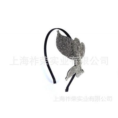 厂家定做珠绣头饰 串珠发箍 珍珠发夹 蝴蝶结钉珠发卡 水晶发饰
