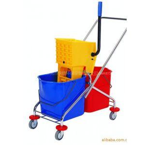 供应高级60升双桶榨水车 酒店设备 塑料压水车 保洁车