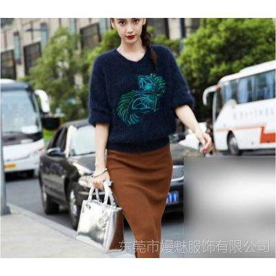 2015春装新款韩版女装马海毛绣花刺绣短款毛衣