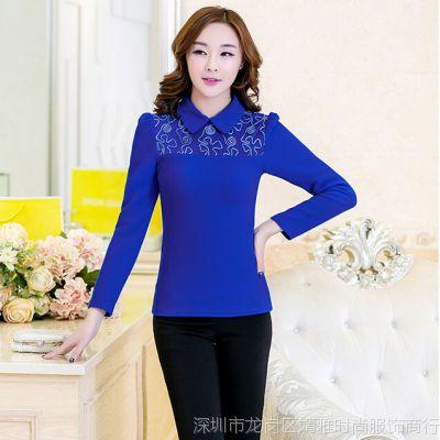 韩国东大门秋冬装新款加绒加厚蕾丝打底衫长袖女士上衣小衫潮