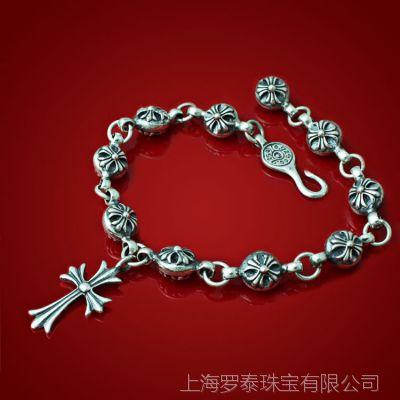 【ZABRA】925纯银首饰 复古十字架手环 进口泰银情侣十字花手链
