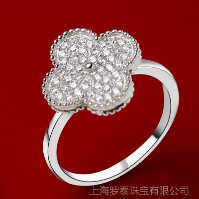 【ZABRA】韩版时尚装饰女 贝壳 银饰镶钻 925纯银四叶草戒指 新款