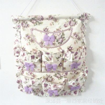 家居布艺热卖蕾丝壁式多层小收纳袋 墙上挂袋 门后帆布储物袋包邮
