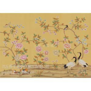 供应真丝手绘墙纸 手绘丝绸花鸟壁纸 中式手绘金箔花鸟壁画图片