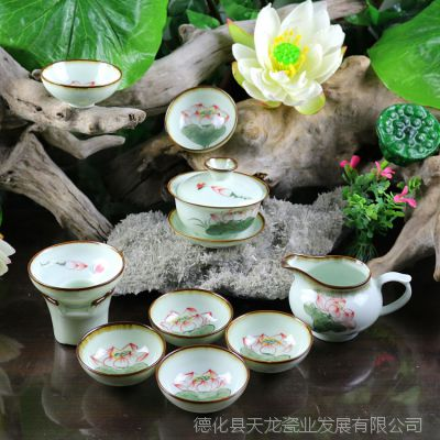 高白瓷茶具套装 创意纯手工彩绘荷花功夫茶具整套 厂家批发定制