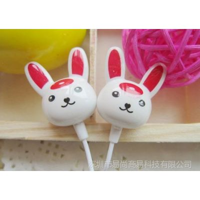 供应小兔子入耳式MP3耳机 电脑周边产品批发 数码配件 手机配件