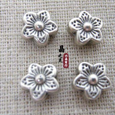 DIY配件批发 花瓣形串珠纯铜珠 隔珠 藏银饰品