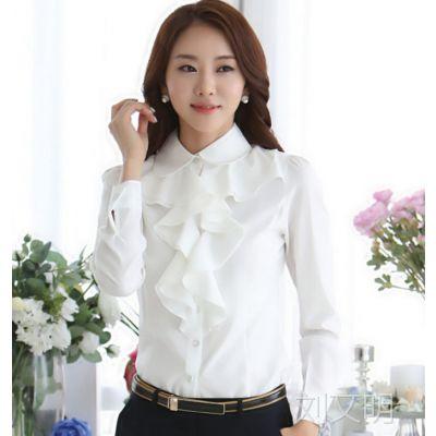 秋装新款OL职业女装长袖衬衫 时尚 修身职业女士衬衣