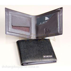 尚多厂家PIXIU定制供应男士黑色牛皮短款钱包钱夹手拿包
