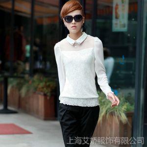供应2013秋季新品长袖女装 拼接蕾丝雪纺衫韩版修身纯色打底衫68803