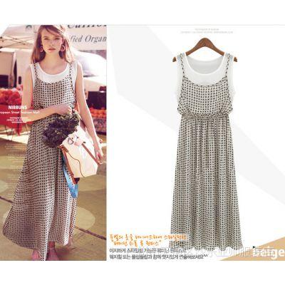 2014韩国ZARA夏假两件拼接格子雪纺吊带连衣裙无袖背心长裙