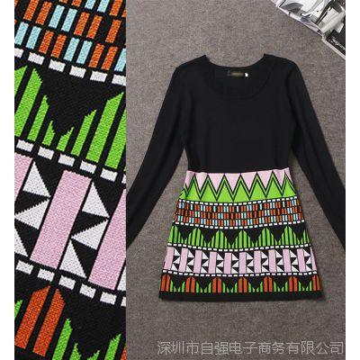 小辣椒同款欧洲站秋冬款女装色织几何图案修身针织连衣裙Z1903