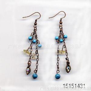 供应饰品,时尚合金耳环,绿松石合金镶钻耳环