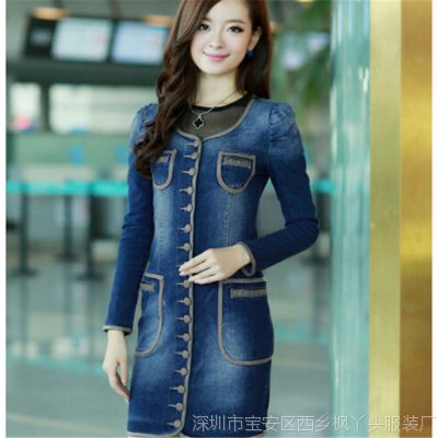 2014新款韩版修身牛仔长袖单排扣女外套