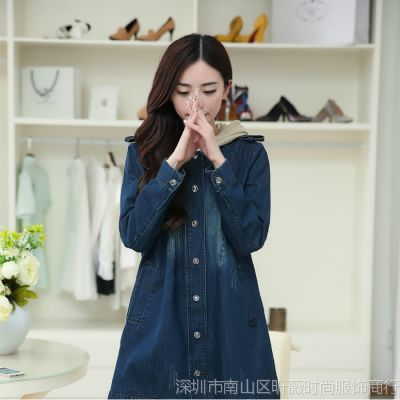 6687#秋季新款欧洲站韩版女装大牌气质宽松直筒牛仔风衣外套女