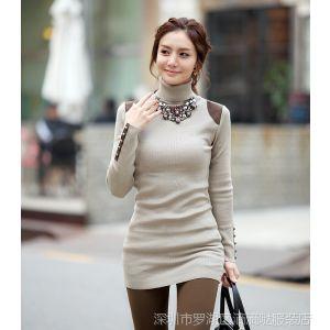 供应秋装新款韩版大码宽松高领针织女修身中长款打底衫