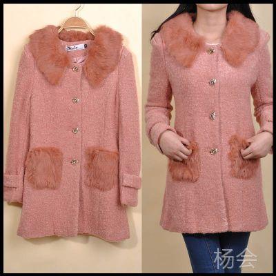 特价大衣 韩版秋冬女大衣 耸肩真兔毛领大衣 正品毛呢大衣外套