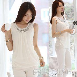 供应Y1184夏季无袖背心吊带打底衫镶钻褶皱白色雪纺衫短袖衬衫女