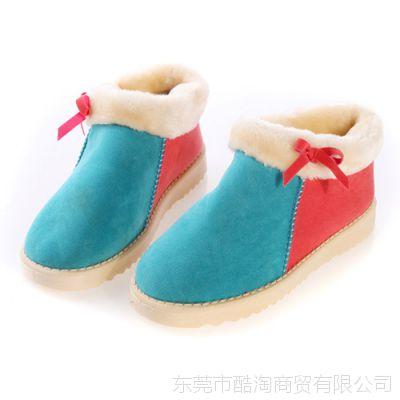 罗拉故事男式拼色棉鞋 女式蝴蝶结拼色保暖鞋 高品质冬鞋情侣鞋子