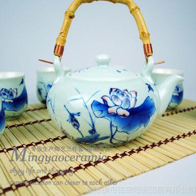 供应手工提梁茶壶茶杯7件套 荷塘情趣 青花古典陶瓷功夫茶具4241#