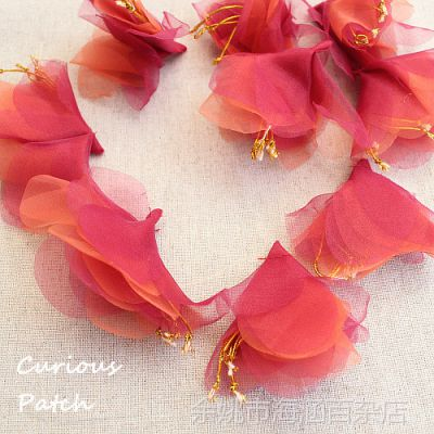 DIY手工 花朵服装辅料 大红色立体花蕊欧根纱补丁贴布贴