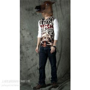 供应2013秋装新款韩版男装 圆领打底衫牛奶丝数码印花 男装长袖潮款